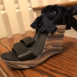"UGG 5"" wedge sandals with satin ribbons. Worn 1x"